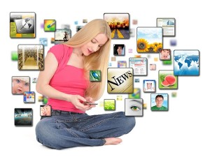 Smartphone growth - girl using mobile device for browsing