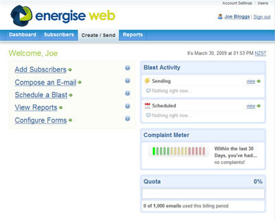 Energise Mail Home Page
