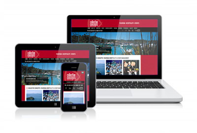Three screens showing Mobile Website Design on a tablet, smartphone and laptop