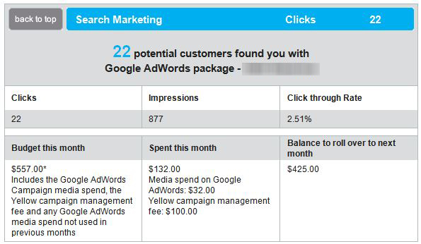 A table showing Yellow Pages Google AdWords management prices
