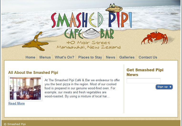 Smashed Pipi Old website needed a redesign