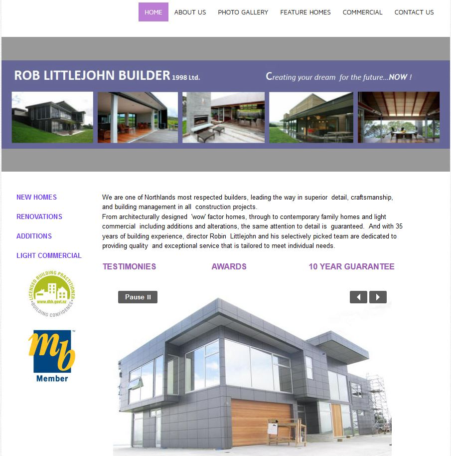 Rob Littlejohn Builder - His old website was confusing to use and the visitor missed out on seeing a lot of content because the links weren't clear.