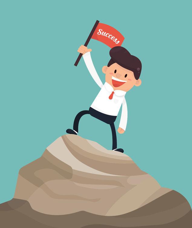 Cartoon of businessman waving success flag after good SEO