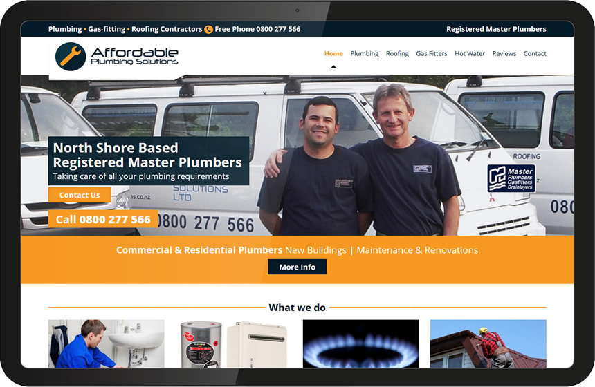 Website design for Affordable Plumbers