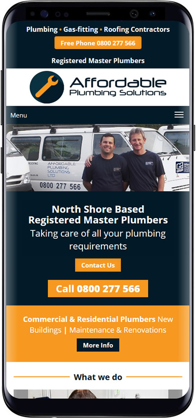 Affordable Plumbing website for mobile