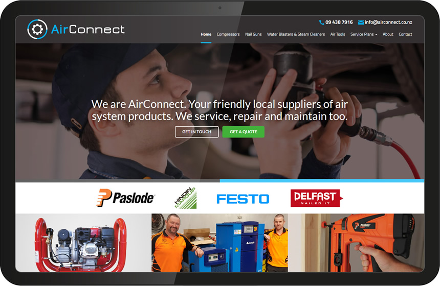 Air Connect compressors website design