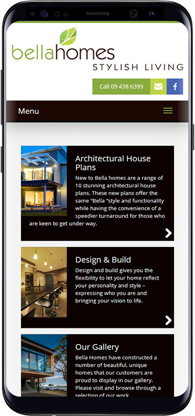 Bella Homes mobile websites designers