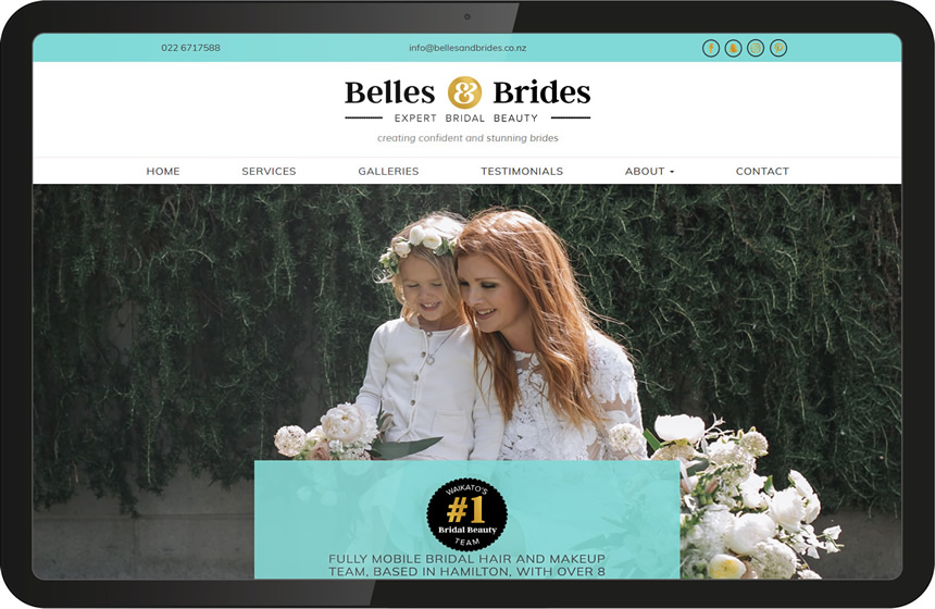 Wedding industry website design for Belles and Brides