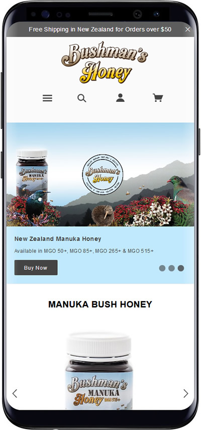 Bushmans Honey mobile website design