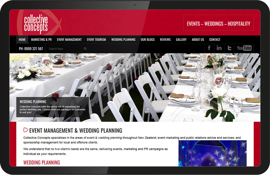 Website Design for Collective Concepts event management
