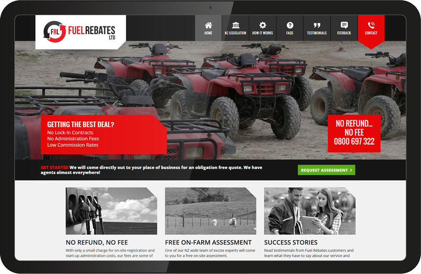 Website design for Fuel Rebates