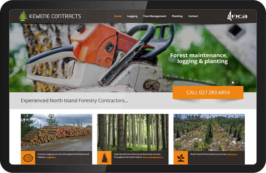 Website design for Kewene Logging Contractors