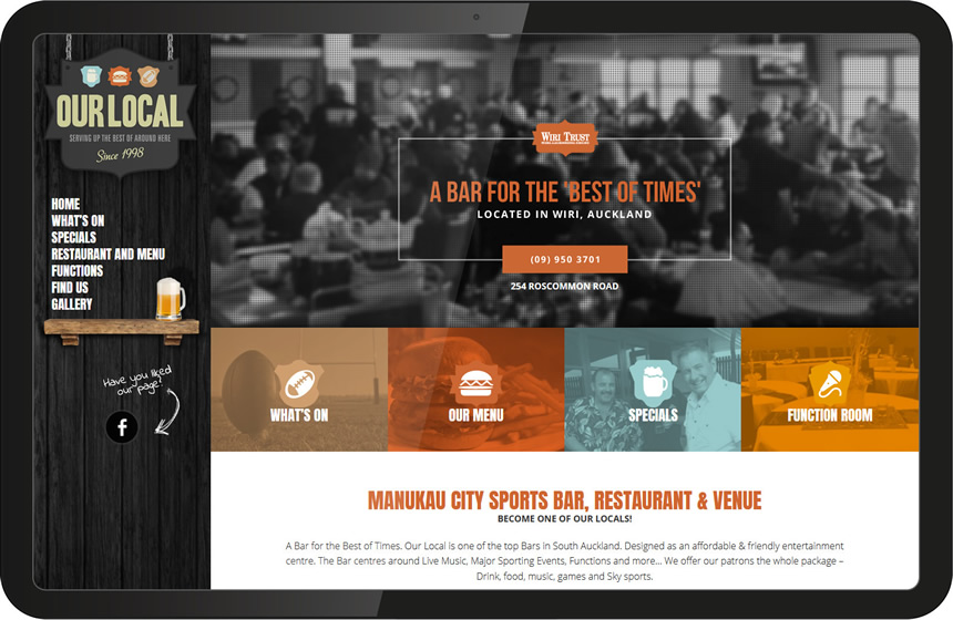 Website design for Our Local Bar & Grill
