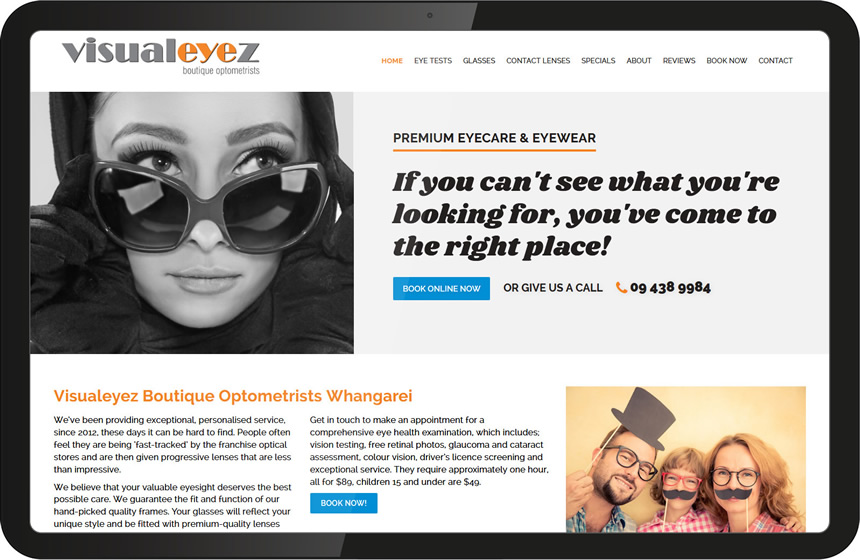 Visualeyez website design