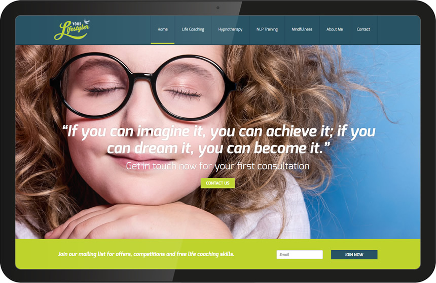 Full screen website design for hypnotherapist