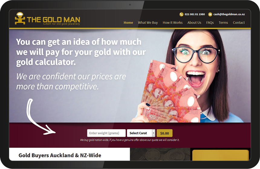 The Gold Man website design