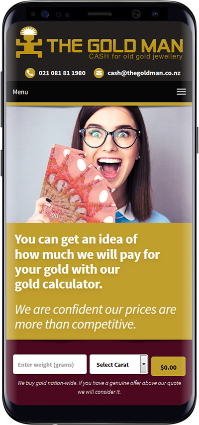 The Gold Man mobile website design
