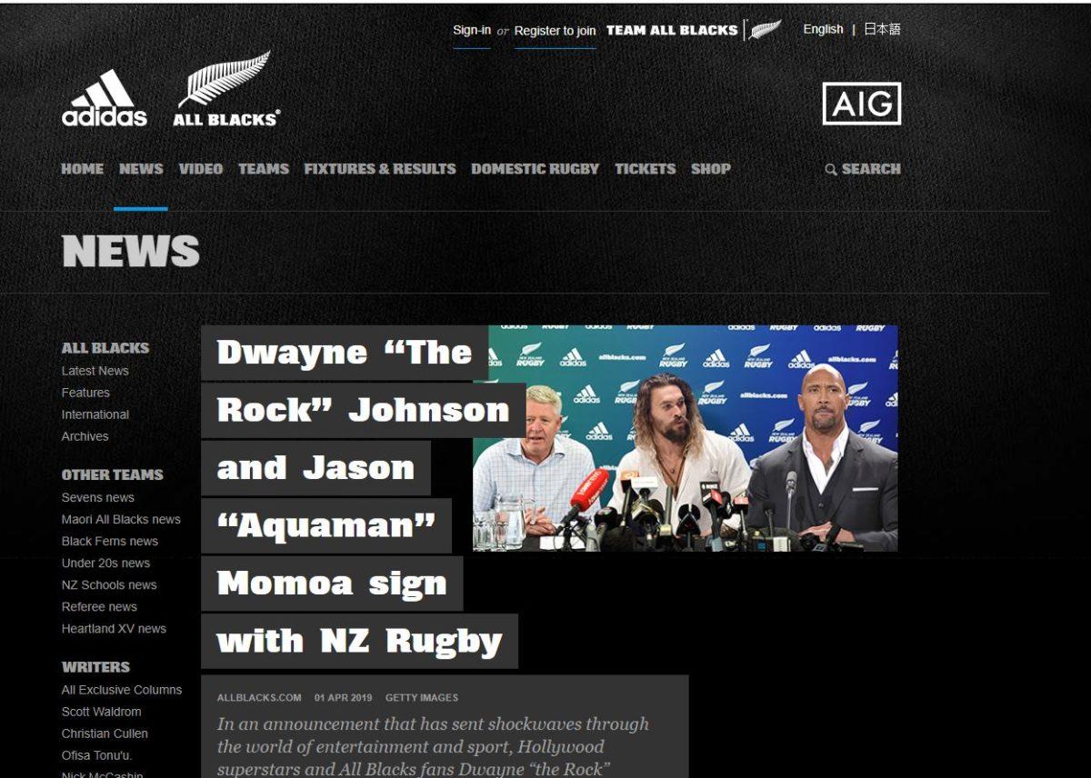 Allbacks recruit Jason Momoa and Dwayne Johnson