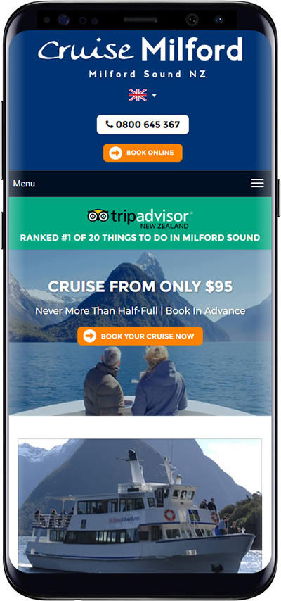 cruise milford mobile website design
